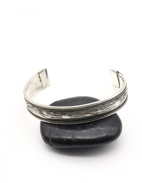 Bracelet ajustable argenté travaillé - Mosaik bijoux indiens