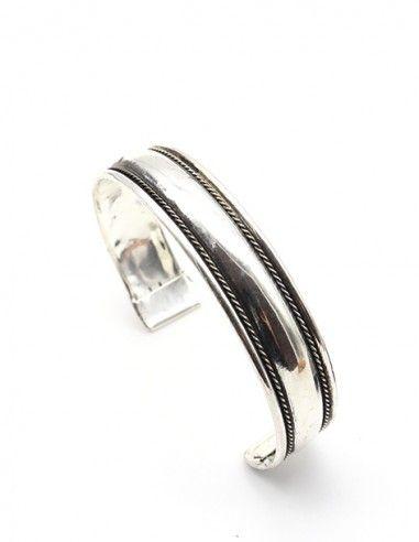 Bracelet argenté lisse - Mosaik bijoux indiens