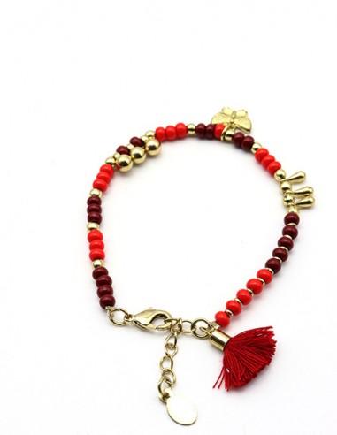 Bracelet fin perles rouges et dorées - Mosaik bijoux indiens