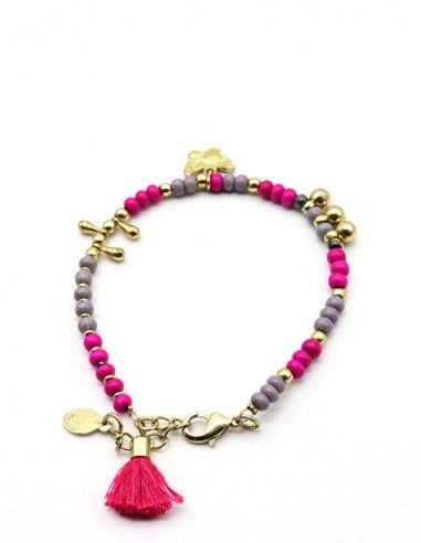Bracelet fin en perles roses et grises - Mosaik bijoux indiens