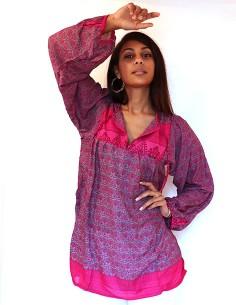 Tunique indienne rose et grise