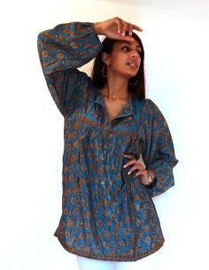 Tunique indienne bleue et...
