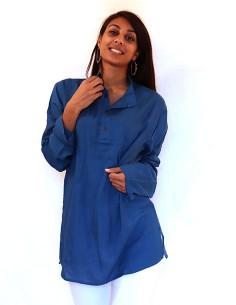 Tunique unie bleue en coton