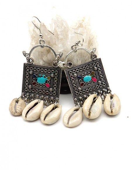 Boucles d'oreilles ethniques à cauris - Mosaik bijoux indiens