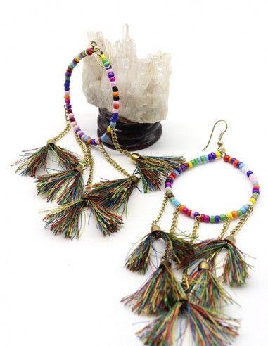 Boucle d'oreille coloré à pompons - Mosaik bijoux indiens