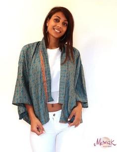 Kimono indiens turquoise à...