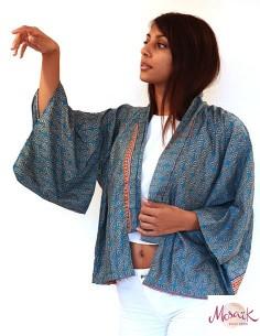 Kimono indiens turquoise à... 2