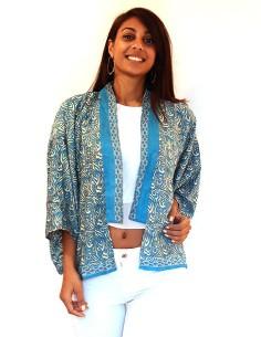 Kimono bleu et beige à...