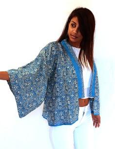 Kimono bleu et beige à... 2