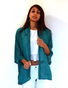 Kimono long turquoise en soie