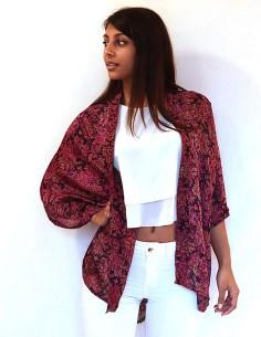 Kimono en soie fuchsia et noir 2