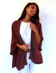 Kimono en soie rouge long à...
