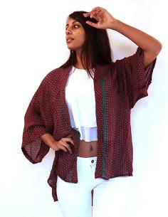 Kimono en soie rouge long à... 2