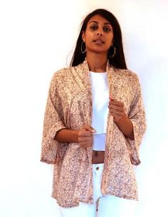 Kimono en soie beige à motifs