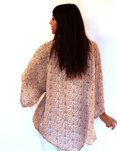 Kimono en soie beige à motifs 2