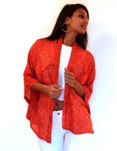 Kimono en soie orangé long...