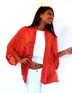 Kimono en soie orangé long... 2