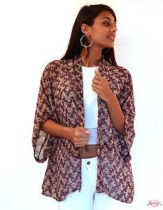 Kimono long violet en soie...