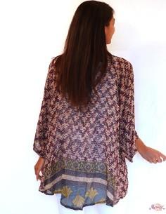 Kimono long violet en soie... 2
