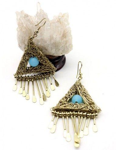 Boucles d'oreilles ethniques dorées - Mosaik bijoux indiens