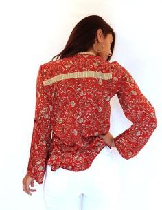 Chemise indienne rouge à... 2