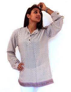 Longue chemise crème à motifs