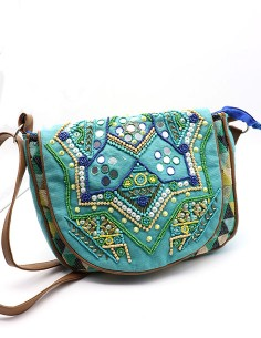 Sac besace turquoise à...