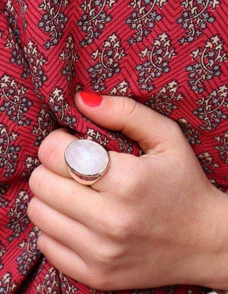 Bague argent et pierre de lune ovale - Mosaik bijoux indiens