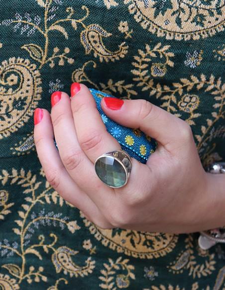 Grosse bague argent épaisse et labradorite taillée - Mosaik bijoux indiens