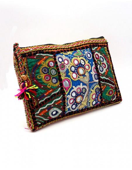 Pochette indienne en tissu brodée -  Mosaik bijoux indiens