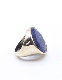 Grosse bague argent et lapis lazuli rond - Mosaik bijoux indiens 2