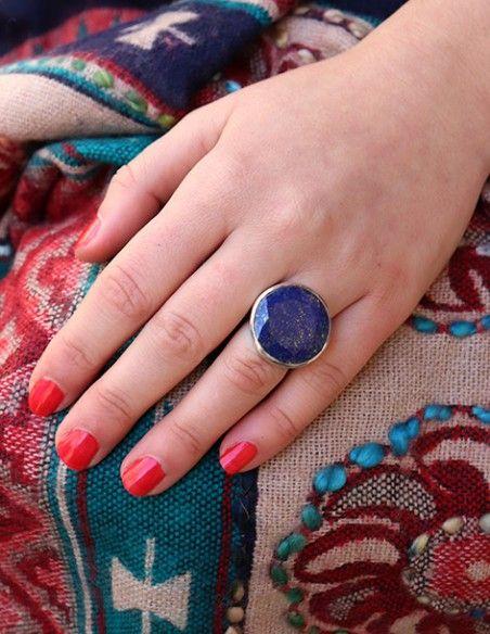 Bague argent et lapis lazuli taillé rond - Mosaik bijoux indiens
