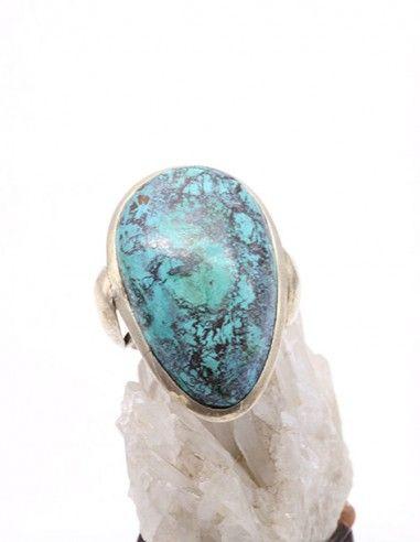 Grosse bague en argent et Turquoise - Mosaik bijoux indiens
