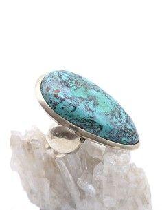 Grosse bague en argent et Turquoise - Mosaik bijoux indiens 2