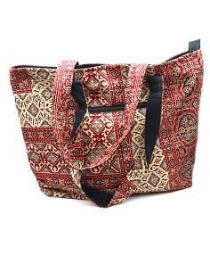 Grand sac cabas rouge à motifs 2