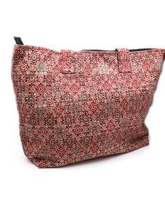 Grand sac cabas rouge à motifs