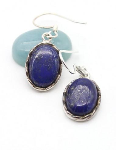 Boucles d'oreilles argent et lapis lazuli ovale - Mosaik bijoux indiens