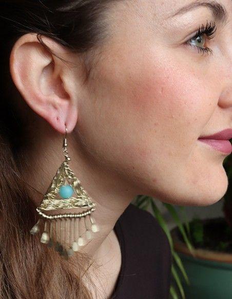 Boucles d'oreilles dorées triangle et turquoise - Mosaik bijoux indiens