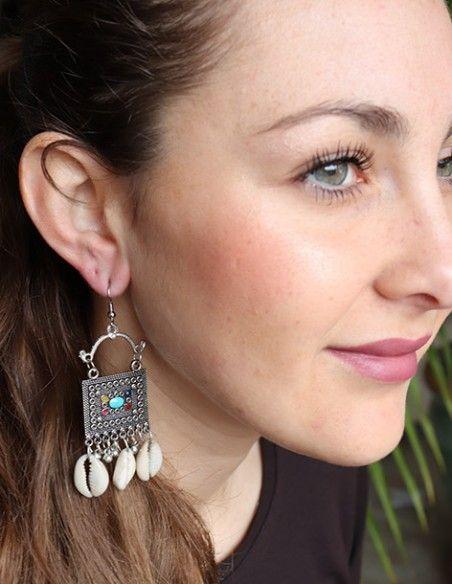 Boucles d'oreilles cauris ethniques - Mosaik bijoux indiens