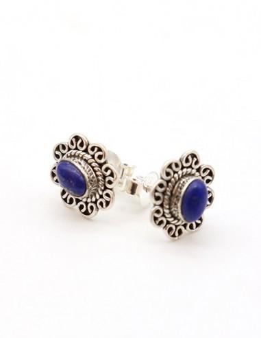 Clous d'oreilles ethniques en argent et lapis lazuli - Mosaik bijoux indiens
