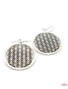 Boucles d'oreilles fleur de vie argent rondes - Mosaik bijoux indiens