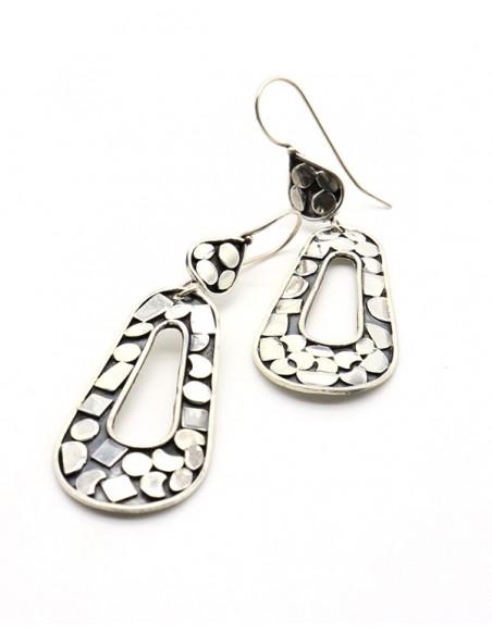 Boucles d'oreilles argent pendantes travaillées -  Mosaik bijoux indiens