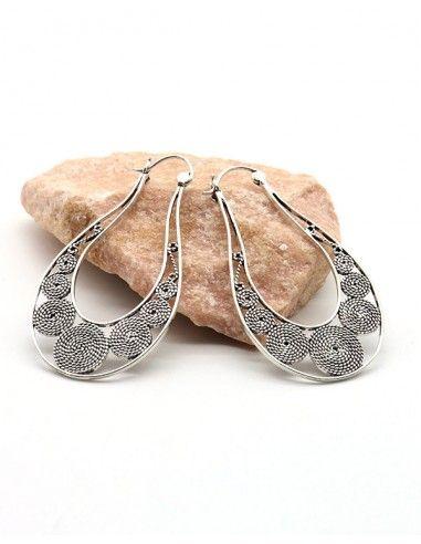 Boucles d'oreilles allongées travaillées -  Mosaik bijoux indiens