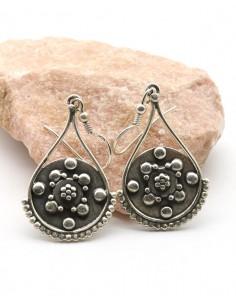 Boucles d'oreilles argent mât travaillées -  Mosaik bijoux indiens