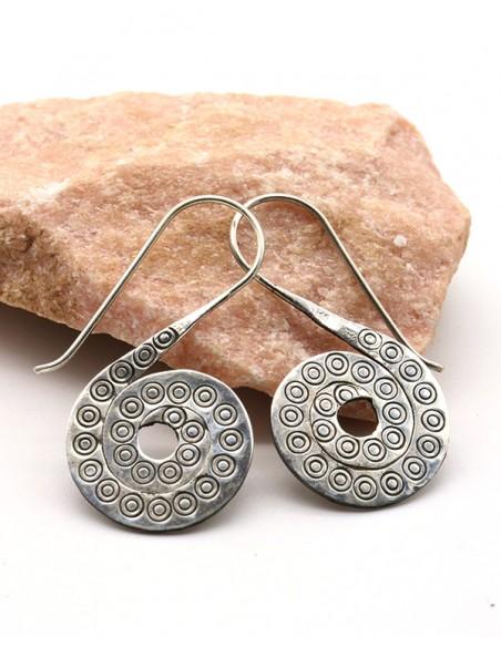 Boucles d'oreilles ethniques en argent spirale -  Mosaik bijoux indiens