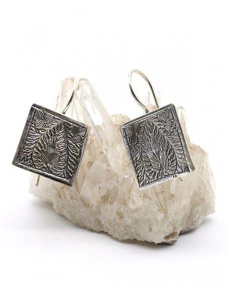 Boucles d'oreilles ethniques en argent travaillées - Mosaik bijoux indiens