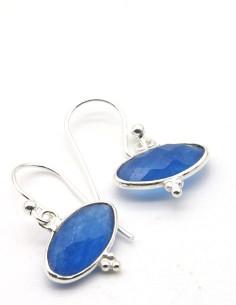 Boucles agate bleue sur argent