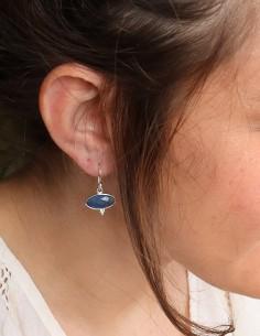 Boucles Onyx bleu sur argent 2