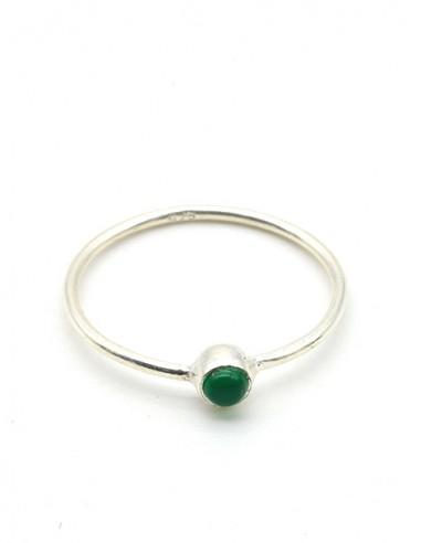 Bague argent très fine et agate verte ronde - Mosaik bijoux indiens