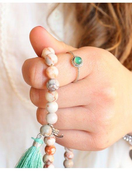 Bague fine argent et agate verte ronde - Mosaik bijoux indiens